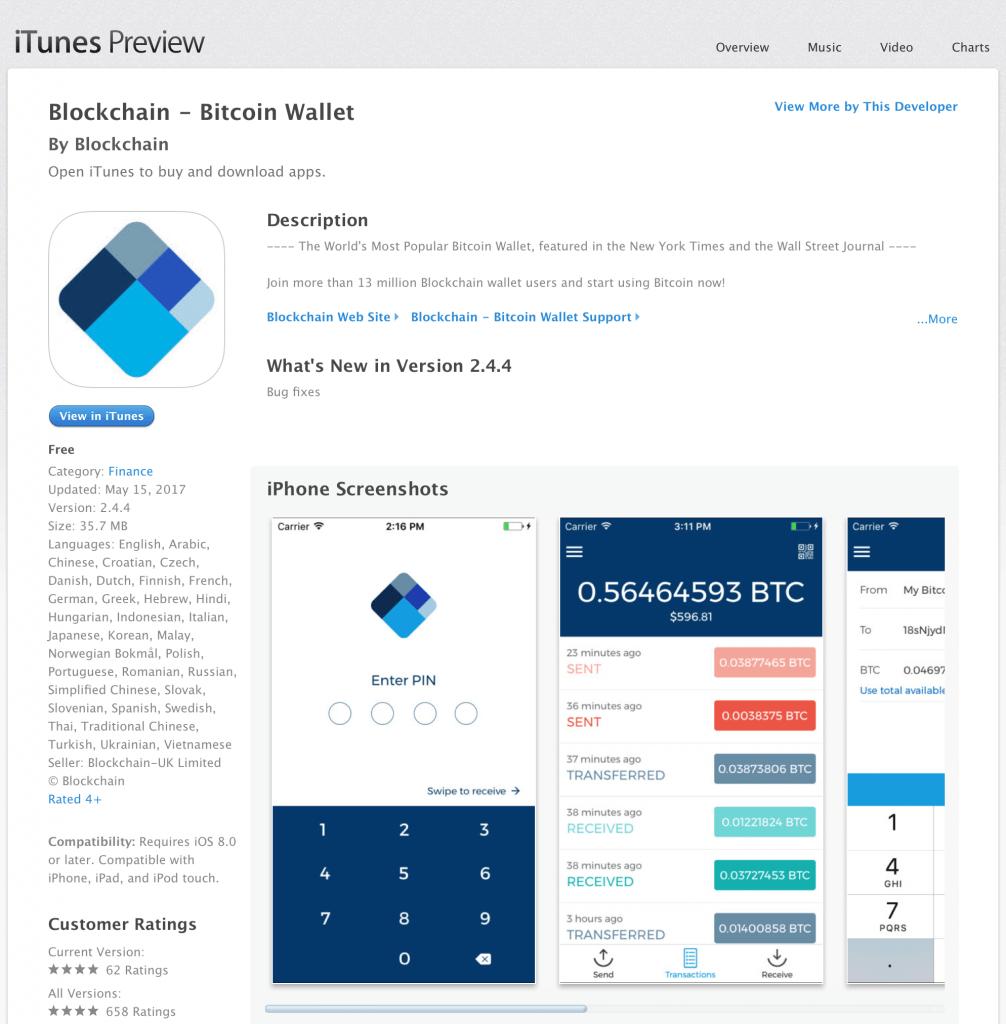 Bitcoin iOS App Blockchain Wallet