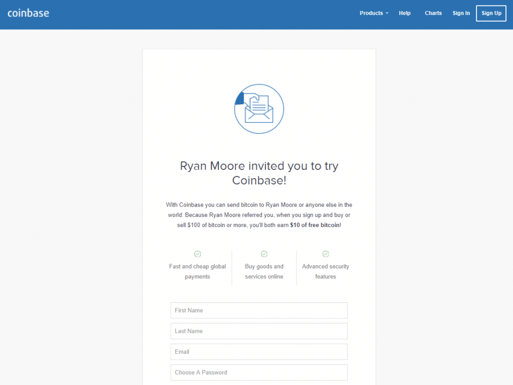 Coinbase's sign up page