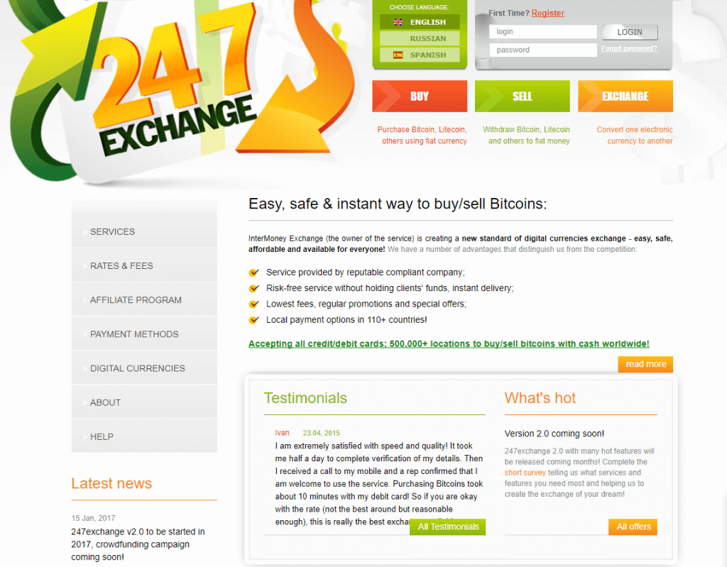Exchange bitcoin with 247Exchange