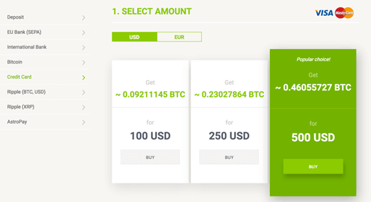 Add funds debit or credit card at Bitstamp