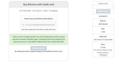 Buy bitcoins with credit card at Coinmama