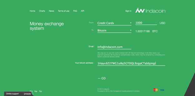 Guide how to buy BTC via IndaCoin credit or debit card