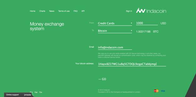 Guide d'achat de BTC via une carte de crédit ou de débit IndaCoin