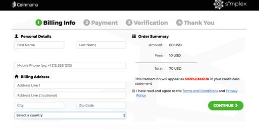 Order Bitcoin at Coinmama