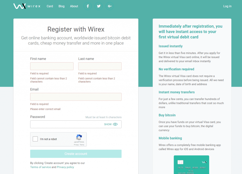 Account registration on Wirex