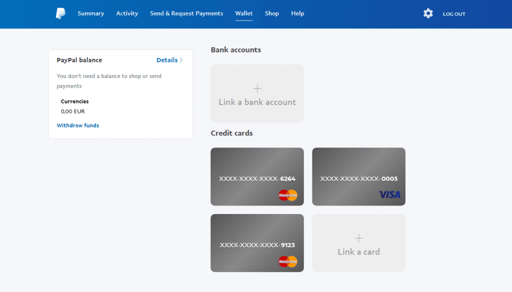 Add the card to PayPal account
