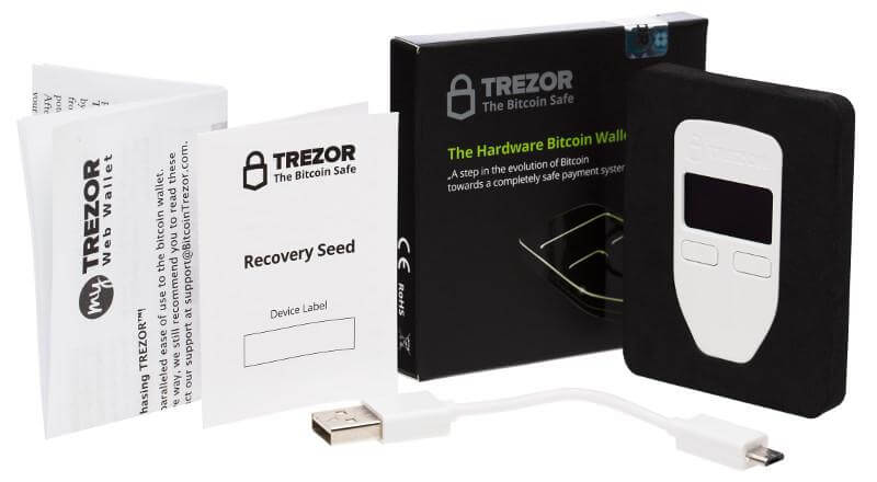 Box with TREZOR wallet
