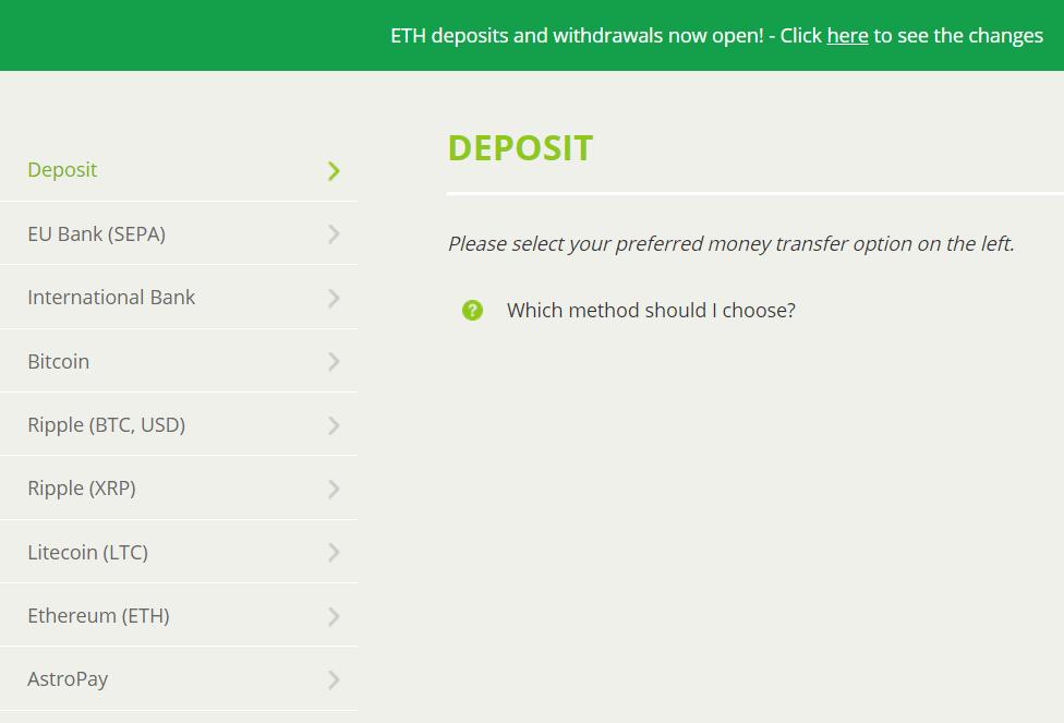 Choose the deposit method