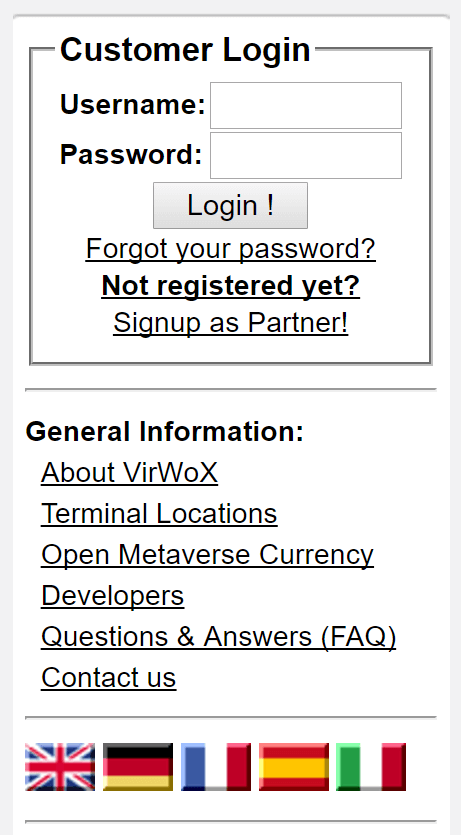 Open account on VirWox