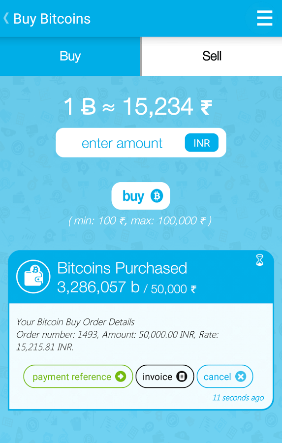 Purchase page of bitcoins