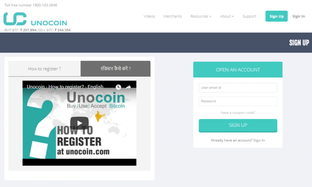 Register on Unocoin