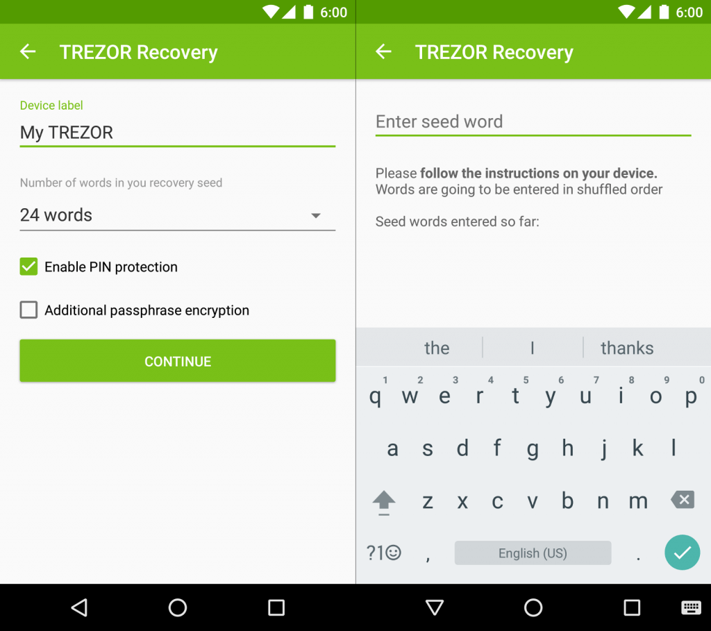 TREZOR app for Android