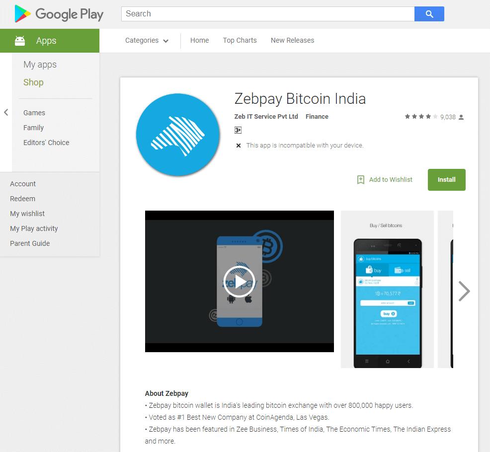 ZebPay mobile exchange