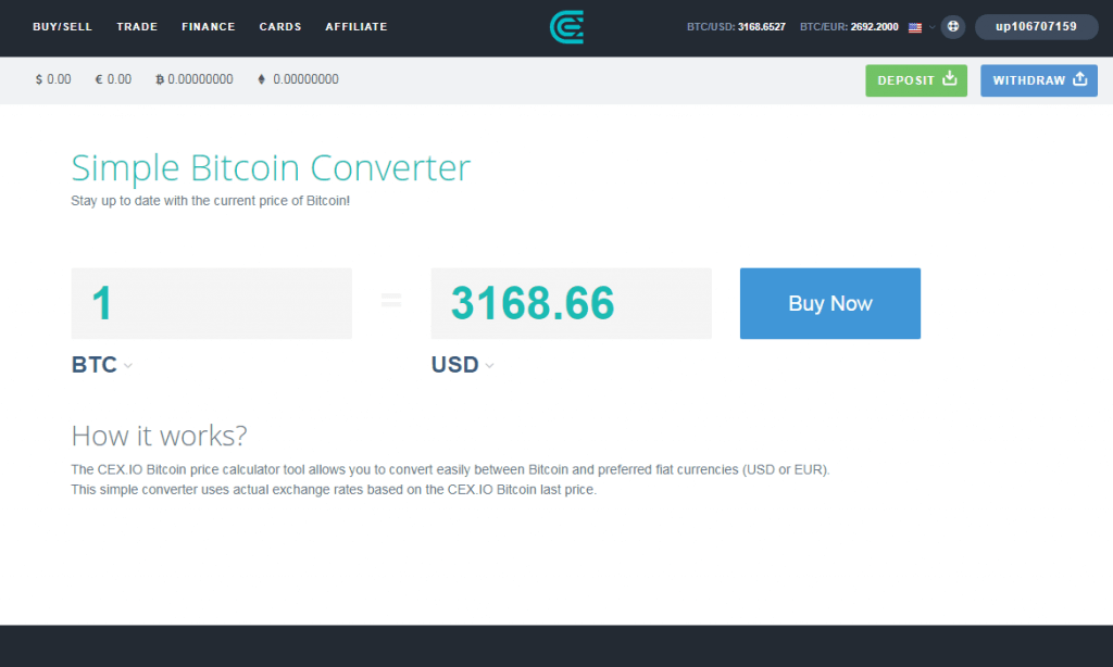Bitcoin calculator option