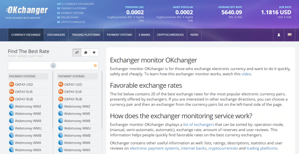 Currency trade at OKchanger