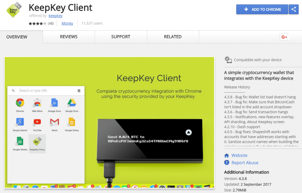KeepKey Client App from the Chrome Web Store