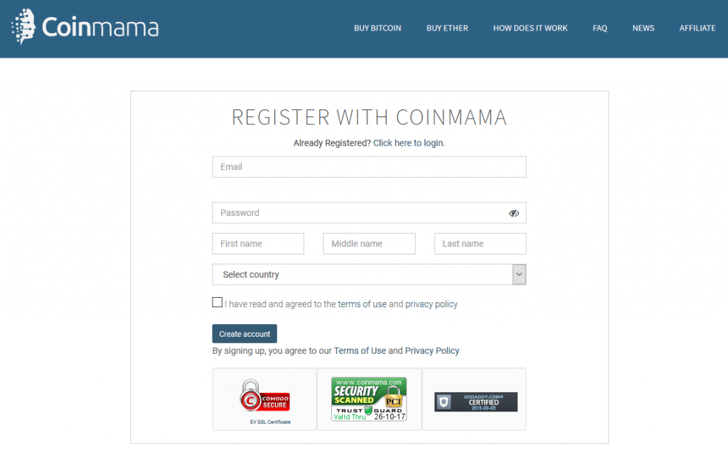 Register at Coinmama