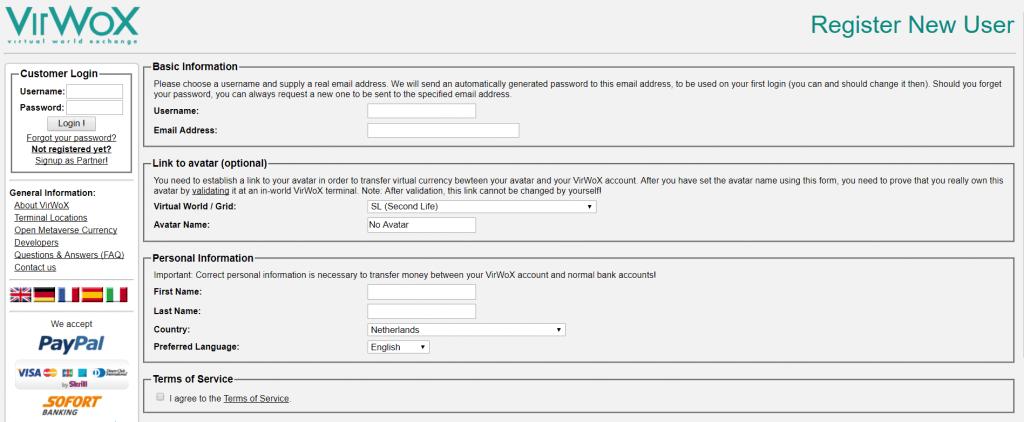 Register new user at VirWox