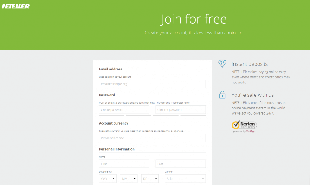 Sign up an account for free