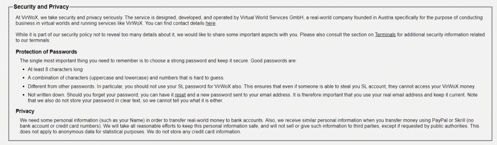 VirWox privacy policy