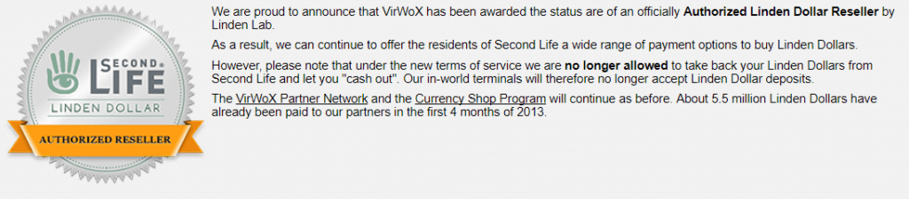 VirWox trades with Second Life Lindens