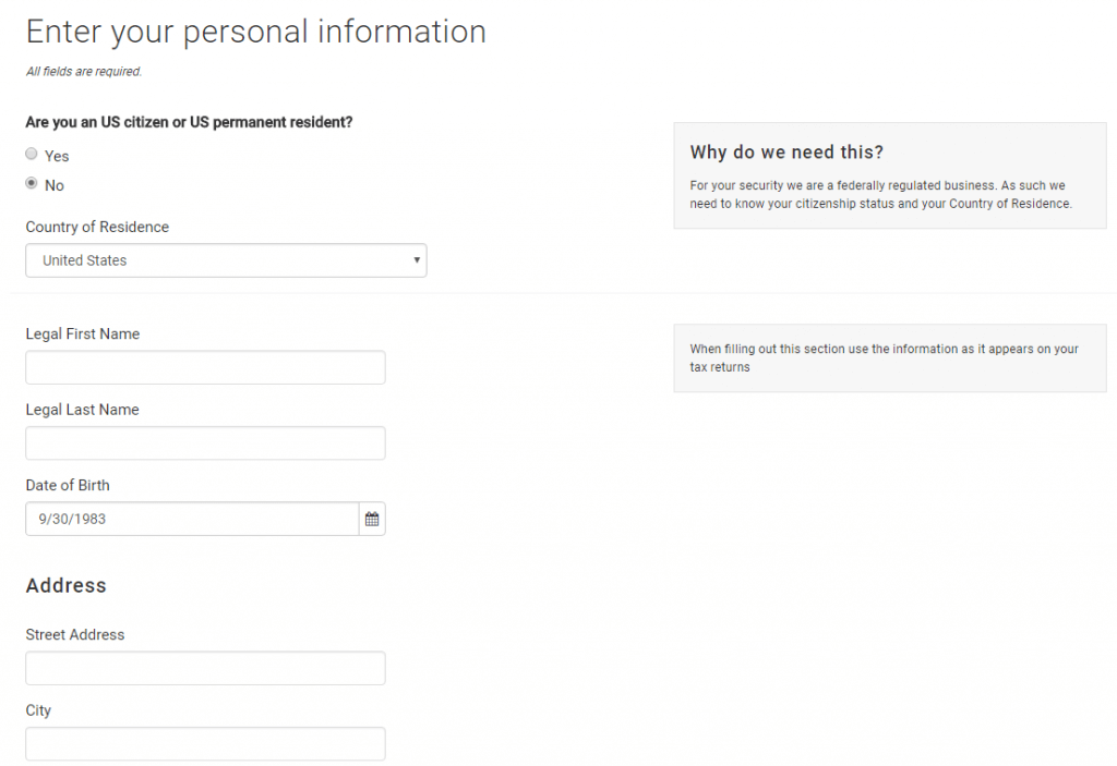 Add personal info at itBit
