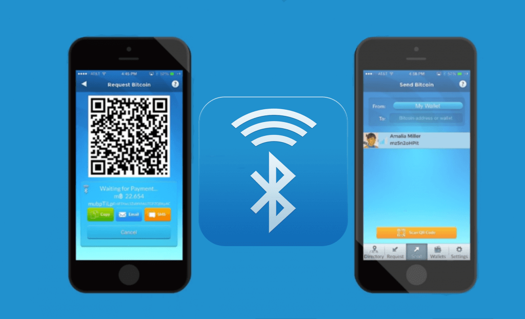 Bluetooth is as transfer option at Airbitz