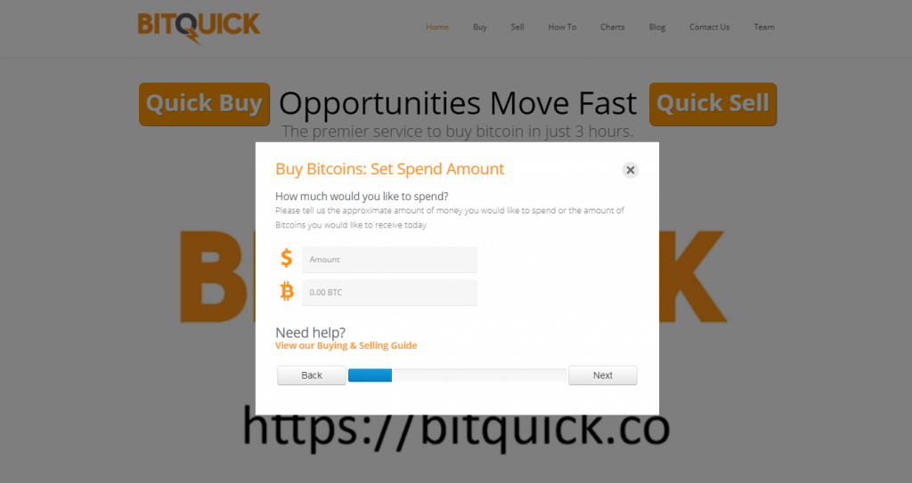 BTC amount you want to order at BitQuick