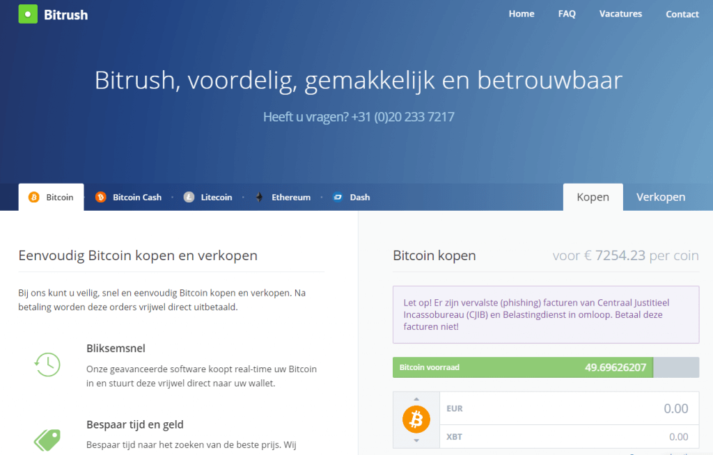 Buy bitcoin at Bitrush