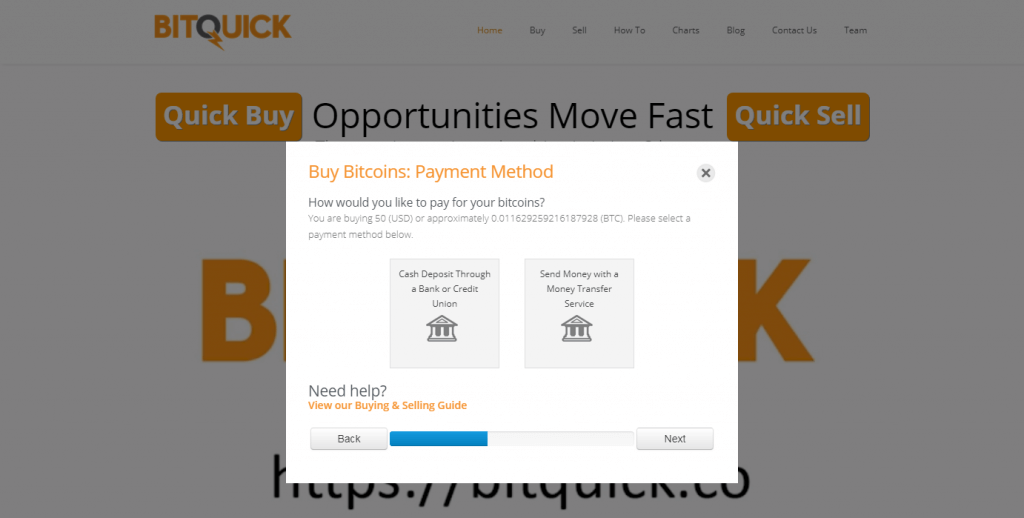 Choose payment method at BitQuick