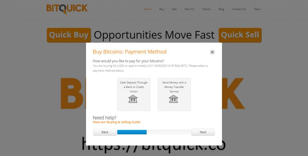 Choose payment method at BitQuick