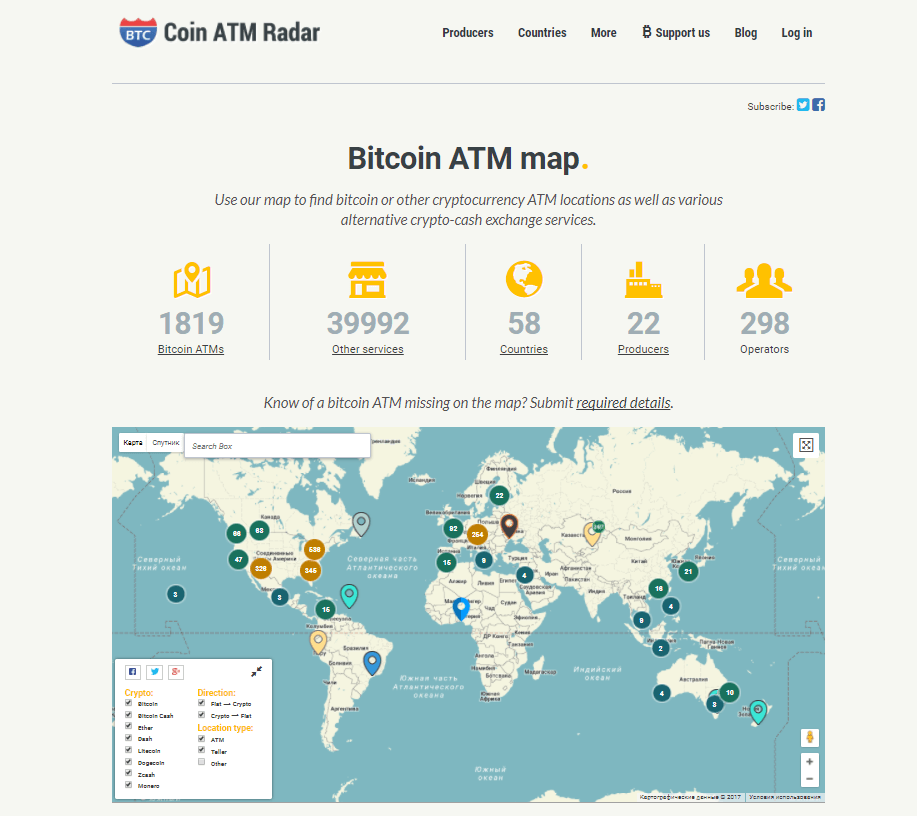 Coin ATM Radar map