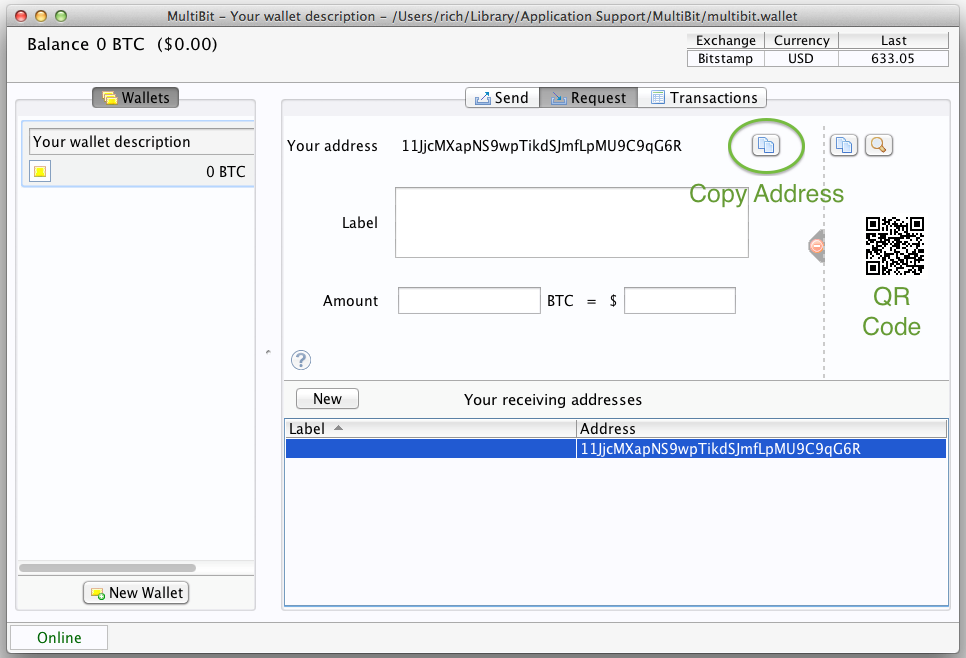 Copy wallet address on MultiBit