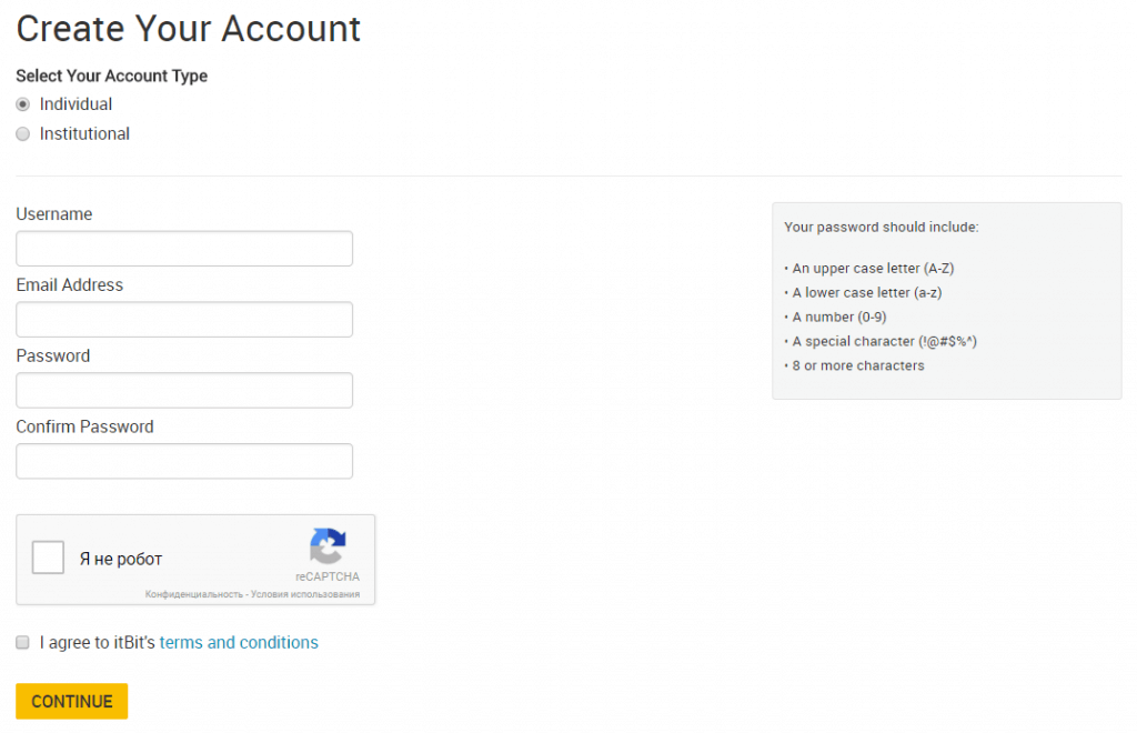 Create account at itBit