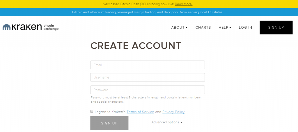 Create account at Kraken