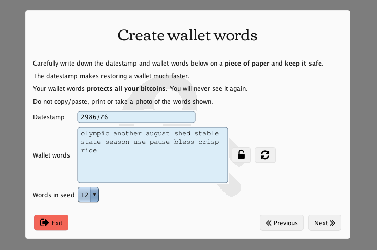 Create MultiBit wallet words