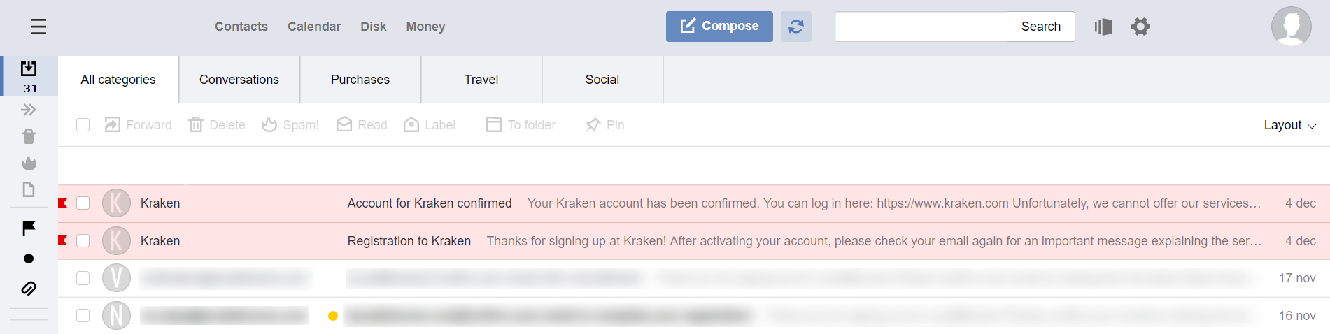 Email confirmation from Kraken BTC exchange