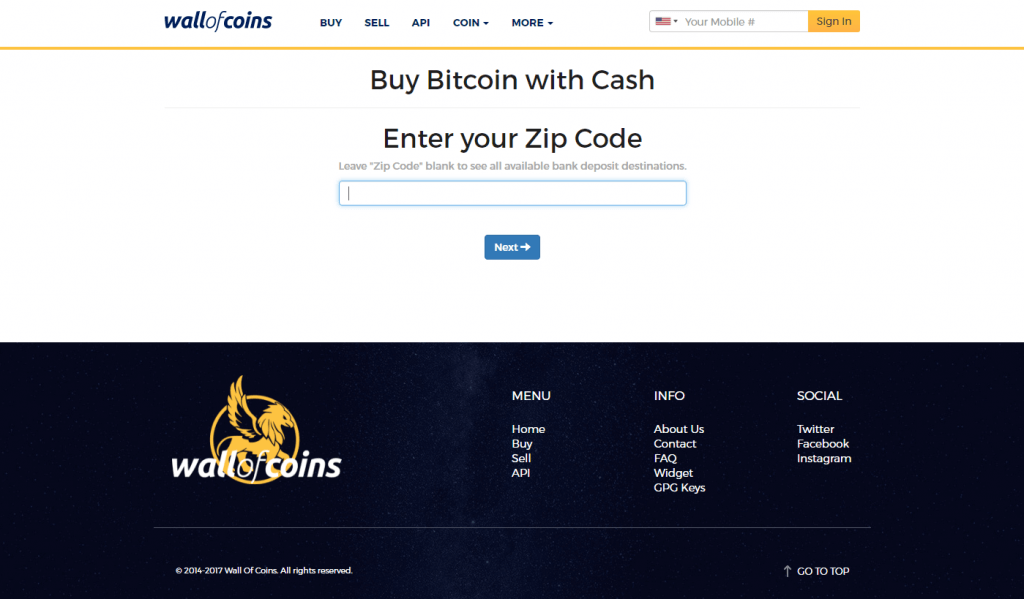 Enter your zip code at Wall of Coins