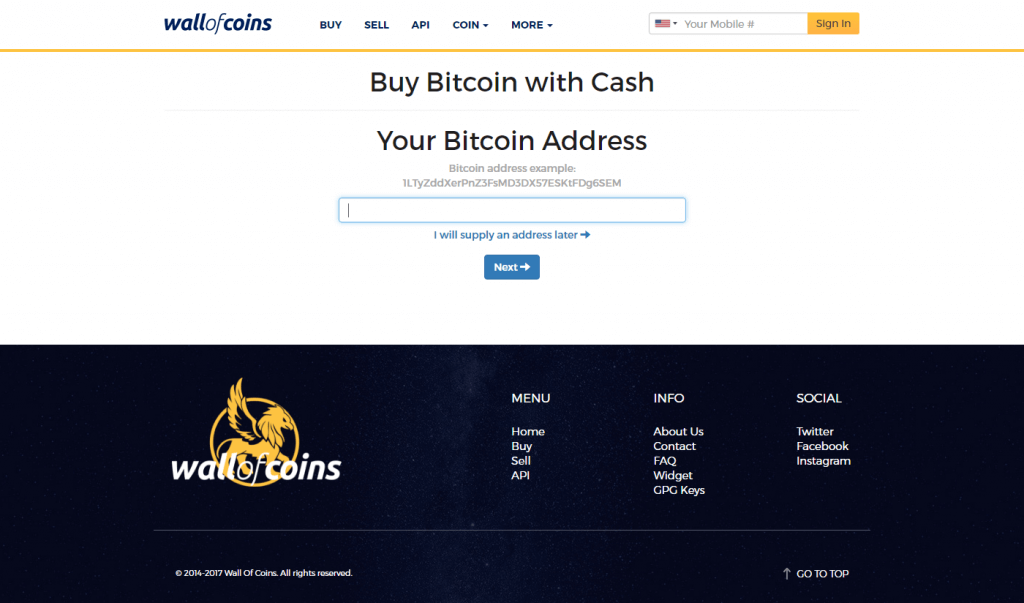 Get bitcoins for cash at Wall of Coins