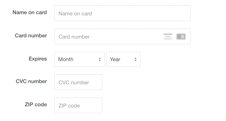 Information about credit/debit card