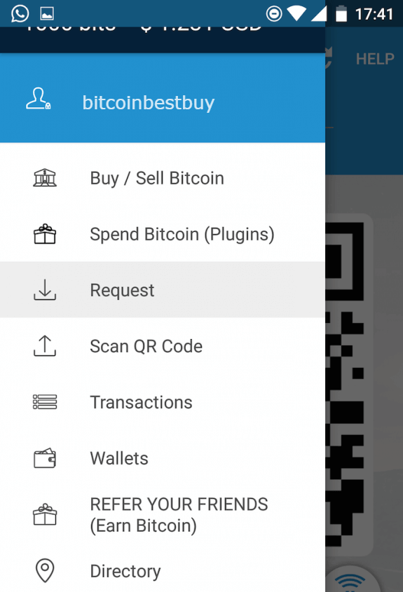 Open menu at the Airbitz BTC wallet