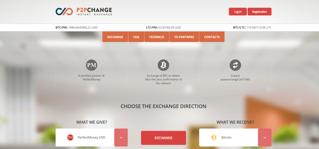 Order bitcoin on P2PChange