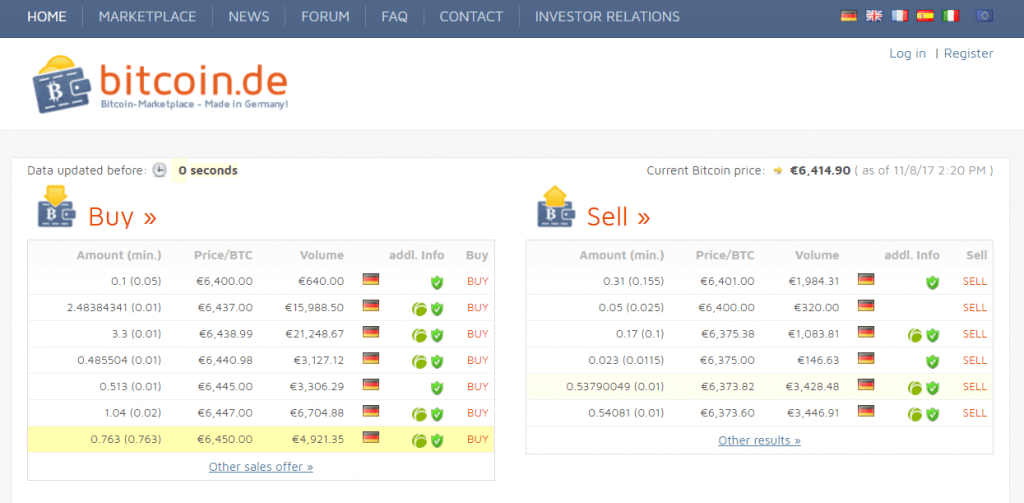 Order BTC at Bitcoin.de