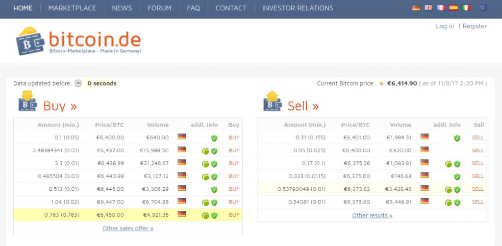 Order BTC at Bitcoin.de