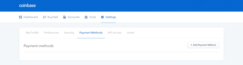 Profile settings on Coinbase