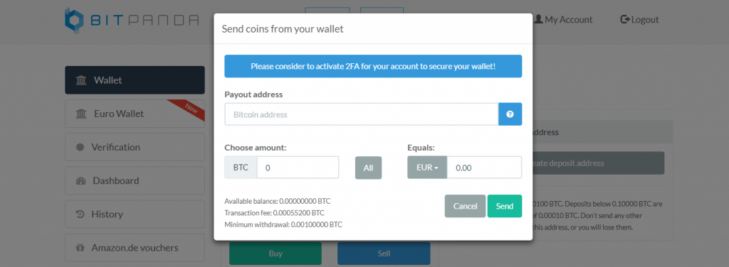 Provide your wallet's address code at BitPanda