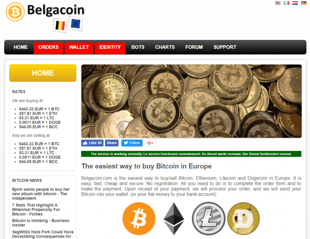 Purchase bitcoin on Belgacoin