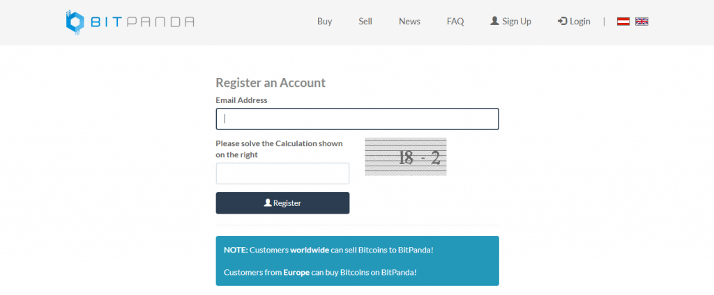 Register an account at Bitpanda