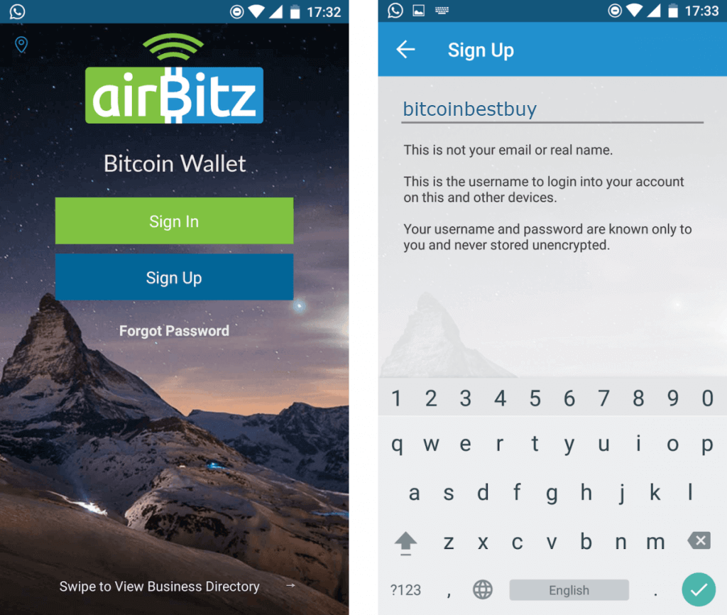 Register at Airbitz BTC wallet