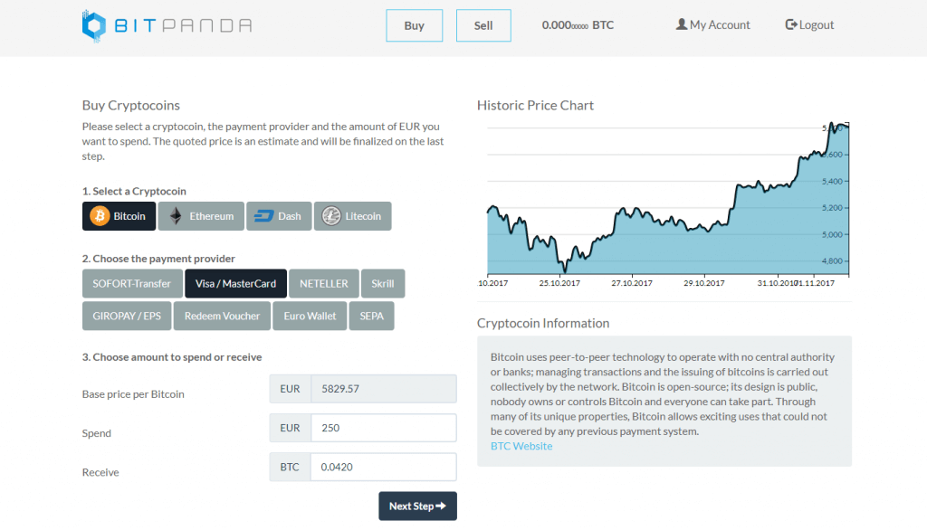 Select BTC option and purchase method on BitPanda